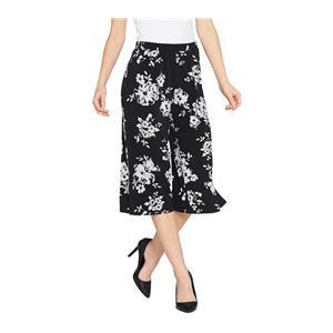Susan Graver Size XL Black/White Floral Liquid Knit Pull-On Wide Leg Crop Pants