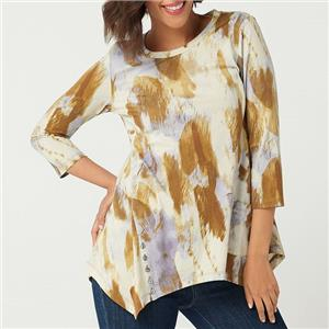 LOGO by Lori Goldstein 1X Apple Cider Printed Cotton Modal Top w/ Button Detail