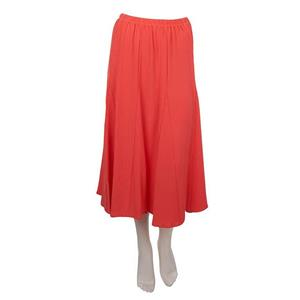 Susan Graver Size 2X Rayon/Poly Crinkled Gauze Pull-on Skirt in Coral