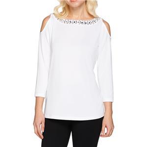 Susan Graver Size 1X White Artisan Embellished Butterknit Cold Shoulder Top