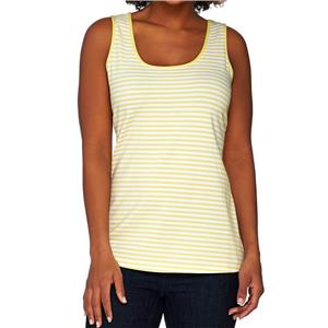 Susan Graver Weekend Size 1X Lemon Yellow Striped Cotton Modal Scoop Neck Tank