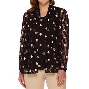 Susan Graver Size 1X Brown Polka Dot Stretch Lace Cardigan Set A276429