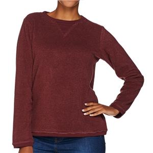 Denim & Co. Size 1X Dark Burgundy Textured Chenille Sweatshirt