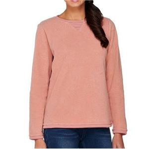 Denim & Co. Size 1X New Antique Rose Textured Chenille Sweatshirt