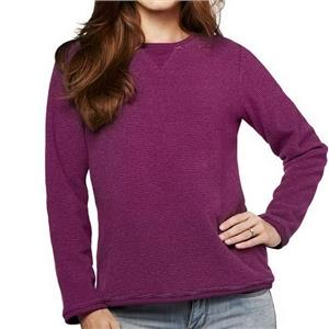 Denim & Co. Size 3X Bright Plum Textured Chenille Sweatshirt