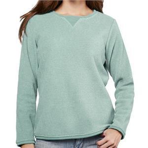 Denim & Co. Size 1X Seafoam Green Textured Chenille Sweatshirt