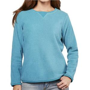 Denim & Co. Size 1X Medium Teal Textured Chenille Sweatshirt