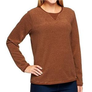Denim & Co. Size 1X Chocolate Brown Textured Chenille Sweatshirt