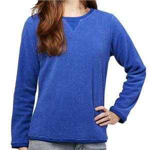 Denim & Co. Size 1X Lapis Blue Textured Chenille Sweatshirt