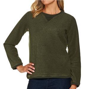 Denim & Co. Size 2X True Olive Textured Chenille Sweatshirt