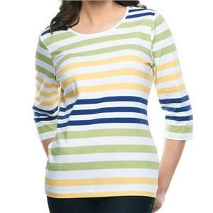 Denim & Co. 1X Green Stripe Perfect Jersey 3/4 Sleeve Color-Block Scoop Neck Top