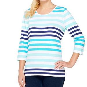 Denim & Co. 2X Turquoise Stripe Perfect Jersey 3/4 Sl Color-Block Scoop Neck Top