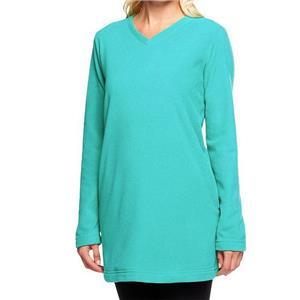 Denim & Co. Size 1X True Turquoise Long Sleeve Fleece V-Neck Tunic w/ Pockets