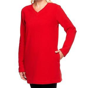 Denim & Co. Size 2X Red Long Sleeve Fleece V-Neck Tunic w/ Pockets