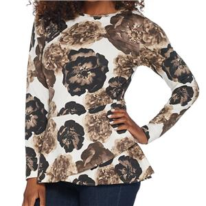 Isaac Mizrahi Live Size 1X Poppy Floral Printed French Terry Peplum Top -Neutral