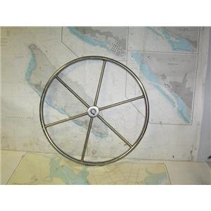 """Boaters' Resale Shop of TX 2005 0531.01 STAINLESS 21"""" STEERING WHEEL - 1"""" SHAFT"""