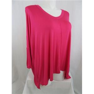 LOGO by Lori Goldstein 1X Pink V-Neck Over-sized Slouch Top with Dolman Sleeves