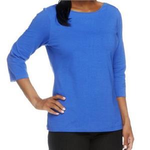 Denim & Co. Essentials Size 1X Vibrant Blue Bateau Neck 3/4 Sleeve Knit Top