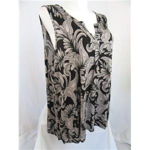 Jones & Co-Jones New York-JNY Size 3X Black/Blush Paisley Sleeveless Top