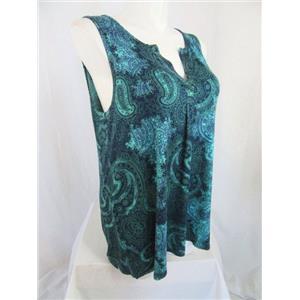 Jones & Co-Jones New York-JNY Size 1X Blue/Green Paisley Sleeveless Top