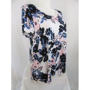 Tahari Size 1X Navy Pink Flower Cap Sleeve Scoop Neck Top