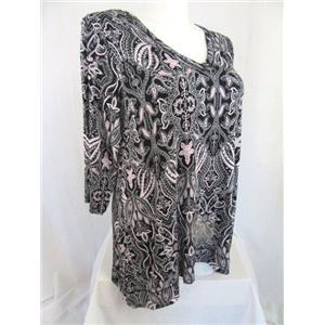 Jones & Co-Jones New York-JNY Size 1X Black Blush Paisley 3/4 Sleeve Top