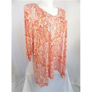 Jones & Co-Jones New York-JNY Size 2X Orange Pink Paisley 3/4 Sleeve Top