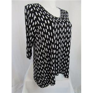 Jones & Co-Jones New York-JNY Size 2X Black & White Brush Stroke 3/4 Sleeve Top