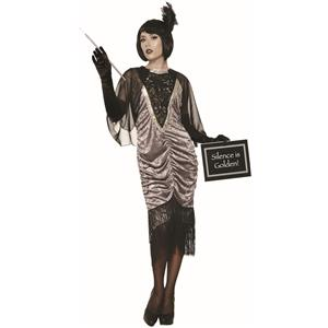 Silver Silent Movie Gray 1920's Flapper Adult Standard Size Costume
