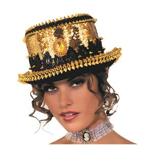 Gold Sequin Steampunk Spike Top Hat