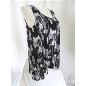 Tahari Size 3X Black/White Sleeveless Printed Scoop Neck Swing Top