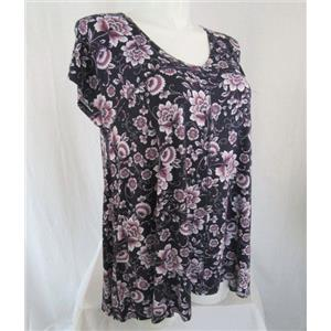 Tahari Size 1X Plum Cap Sleeve Floral Scoop Neck Top