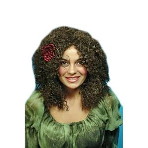 Gypsy Brown Shoulder Length Curly Wig with Red Flower