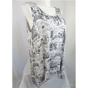 Cynthia Rowley Woman Size 2X White Sleeveless Printed Top