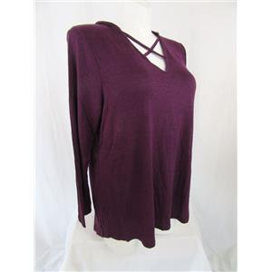 Lane Bryant Size 18/20 Heather Berry Long Sleeve Athleisure Top with Hood