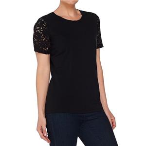 Denim & Co 3X Black Perfect Jersey Scoop Neck Top w/ Lace Short Sleeves