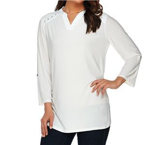 Denim & Co. Size 2X Winter White Split V-Neck 3/4 Sleeve Tunic with Stud Detail