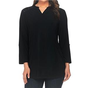 Denim & Co. Size 2X Black Split V-Neck 3/4 Sleeve Tunic with Stud Detail