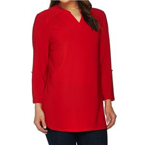 Denim & Co. Size 2X Fall Red Split V-Neck 3/4 Sleeve Tunic with Stud Detail