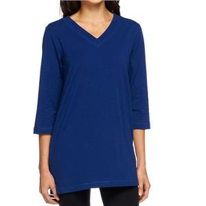 Denim & Co Essentials Size 1X Bright Navy Perfect Jersey 3/4 Sleeve V-Neck Tunic