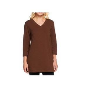 Denim & Co. Essentials 2X Chocolate Brown Perfect Jersey 3/4 Sleeve V-Neck Tunic