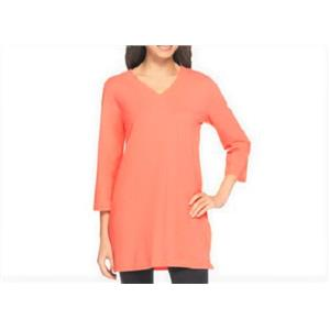 Denim & Co Essentials Size 1X Light Coral Perfect Jersey 3/4 Sleeve V-Neck Tunic