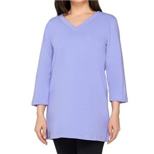 Denim & Co. Essentials Size 2X Lilac Perfect Jersey 3/4 Sleeve V-Neck Tunic