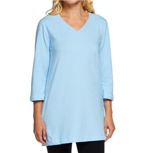 Denim & Co. Essentials Size 1X Pale Blue Perfect Jersey 3/4 Sleeve V-Neck Tunic