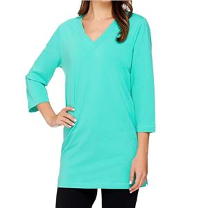 Denim & Co. Essentials Size 1X Turquoise Perfect Jersey 3/4 Sleeve V-Neck Tunic