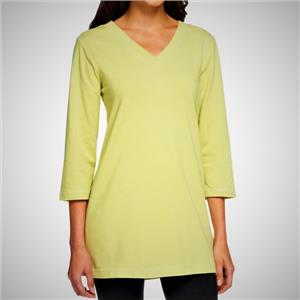 Denim & Co. Essentials Size 1X Soft Lime Perfect Jersey 3/4 Sleeve V-Neck Tunic