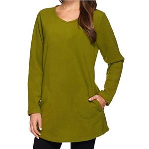 Denim & Co. Size 3X Rich Olive Fleece Scoop Neck Long Sleeve Tunic with Pockets
