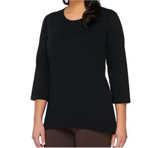 Denim & Co. Size 1X Black 3/4 Sleeve Knit Top with Hi-Low Hem