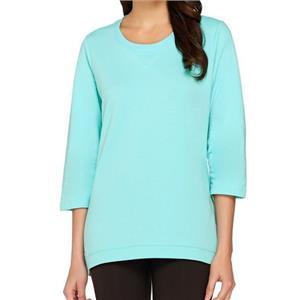 Denim & Co. Size 3X Light Aqua 3/4 Sleeve Knit Top with Hi-Low Hem