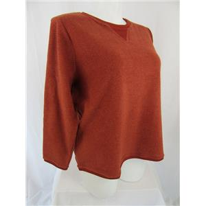 Denim & Co. Size 1X Rich Rust Textured Chenille Sweatshirt